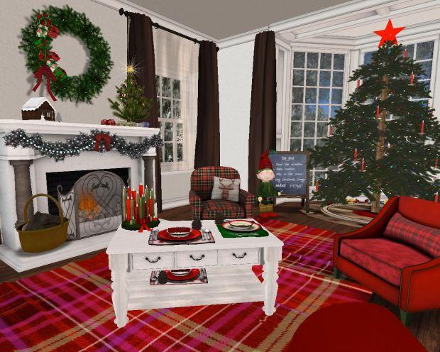 LR- Red Plaid Seating Area & Main Xmas Tree